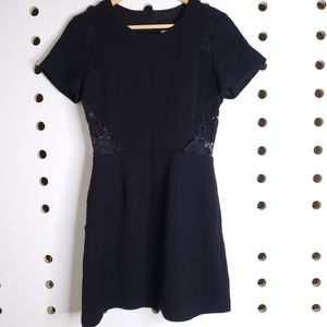 SEA New York Black Short Sleeve Lace Cut Out Dress